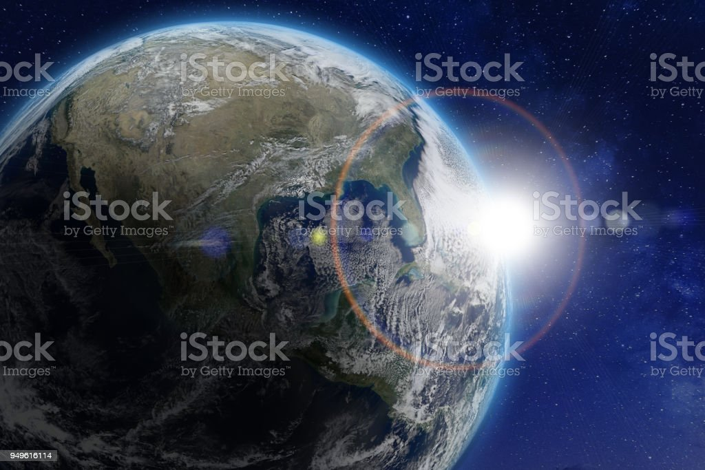 Planet Earth viewed from space, sun. World image from NASA stock photo