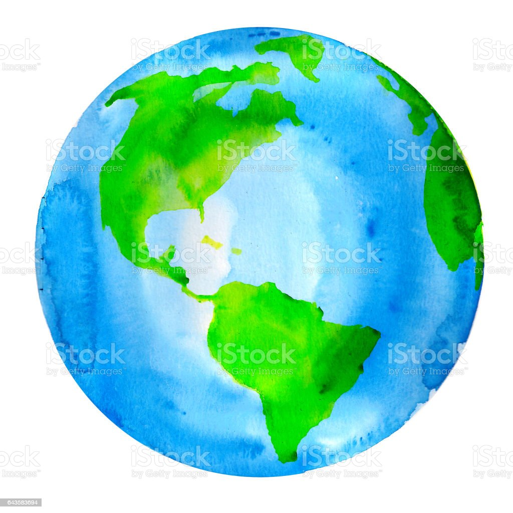 Planet Earth Watercolor Painting stock photo