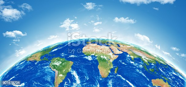 istock Planet earth with cloudy sky 901578704