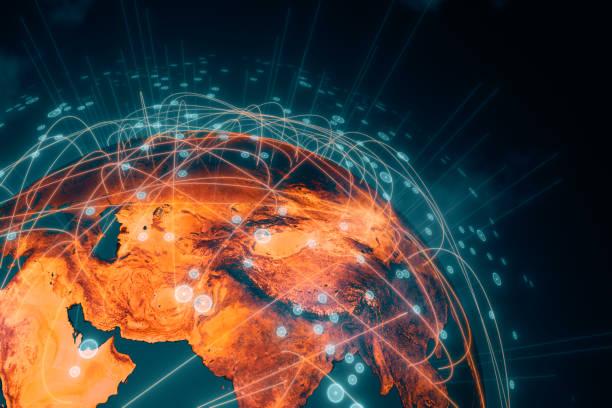 Planet Erde mit Verbindungsleitungen – Foto
