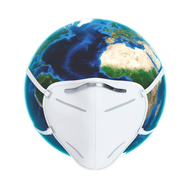 Planet Earth with Face Pollution Mask on White stock photo