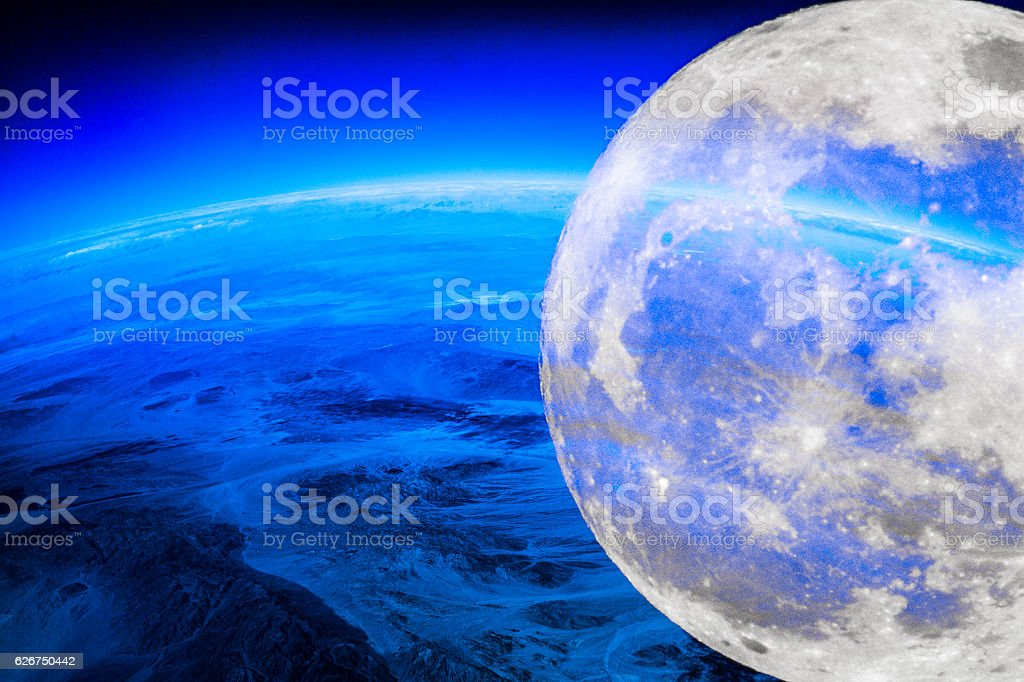 Planet Earth with Moon at night stock photo