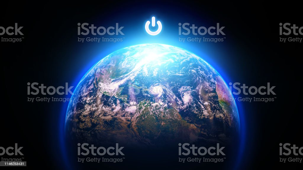 Planet Earth with Power button Planet Earth with Power button on top Black And White Stock Photo