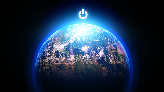 Planet Earth With Power Button Stock Photo - Download Image Now