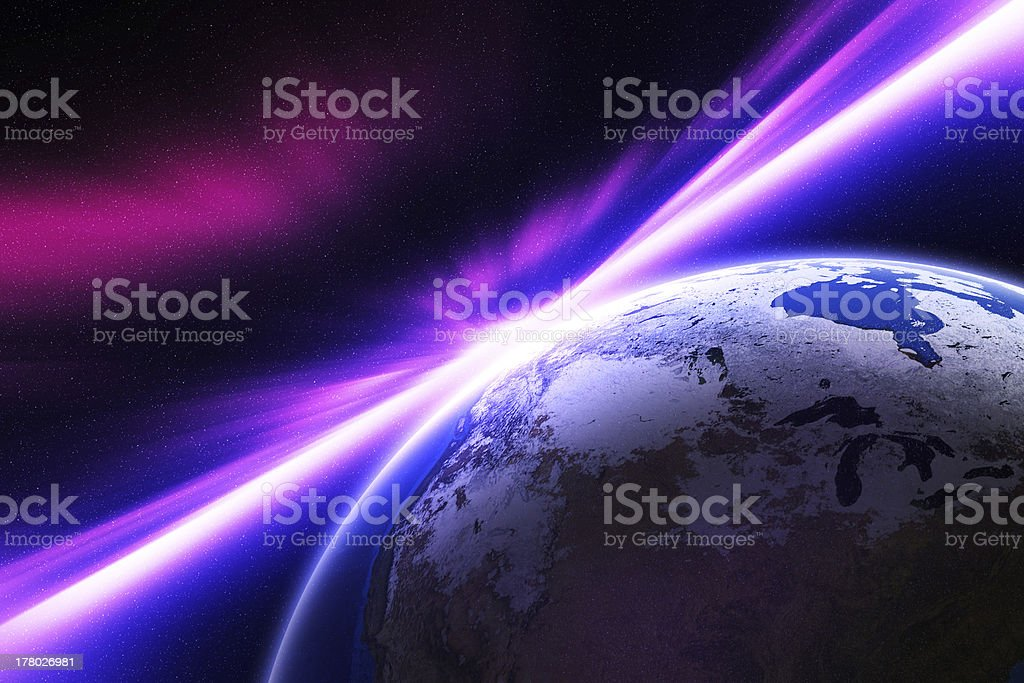 Planet Earth with rays of light. royalty-free stock photo