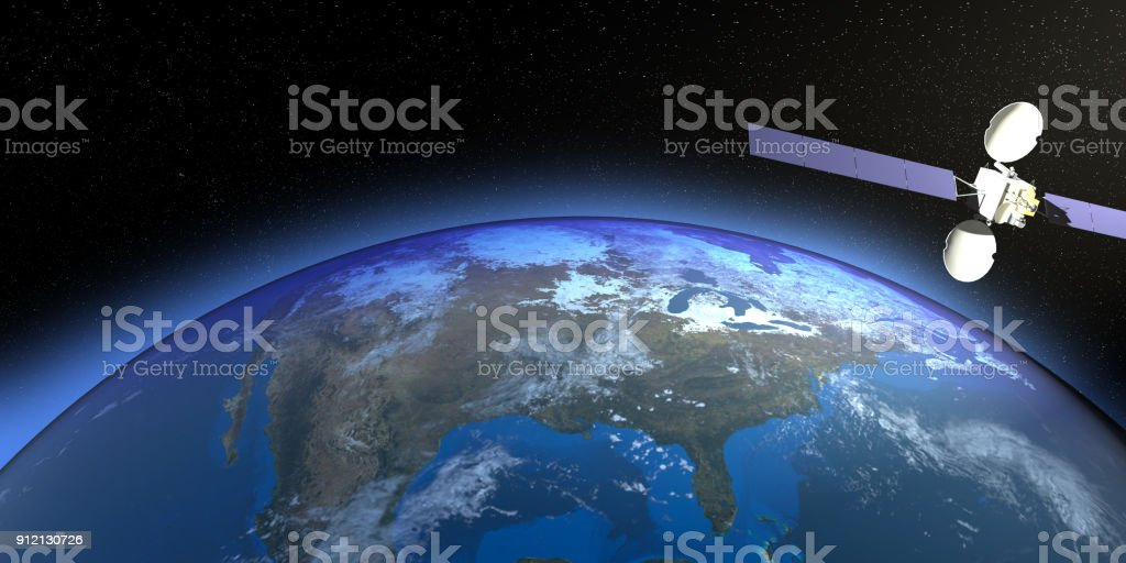 Planet Earth With Satellite On USA stock photo