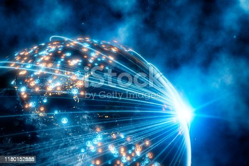 istock Planet Earth With Social Network Connection Lines 1180152888