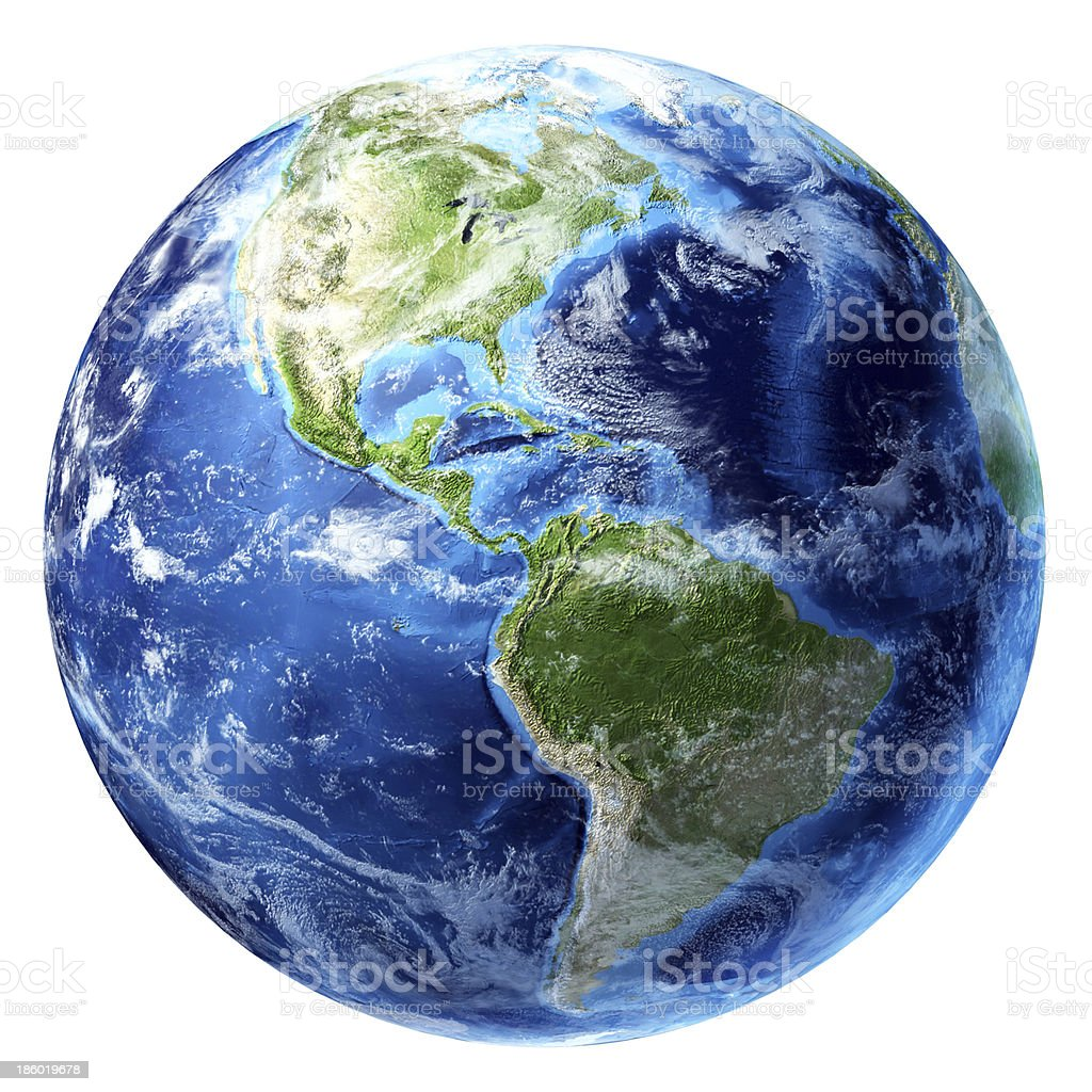 Planet Earth with some clouds. America's view. stock photo