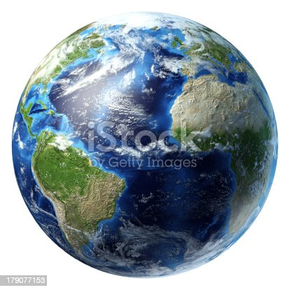 186020817istockphoto Planet Earth with some clouds. Atlantic ocean view. 179077153