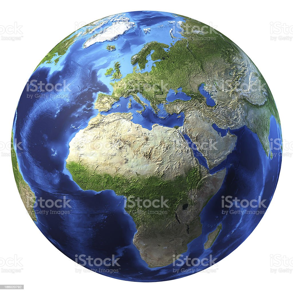 Planet earth with some clouds. Europe and Africa view. stock photo