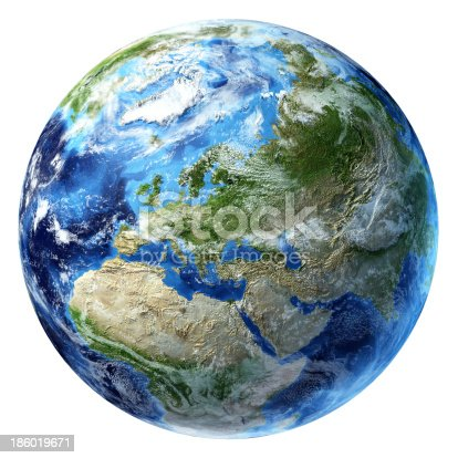 186019678istockphoto Planet Earth with some clouds. Europe view. 186019671