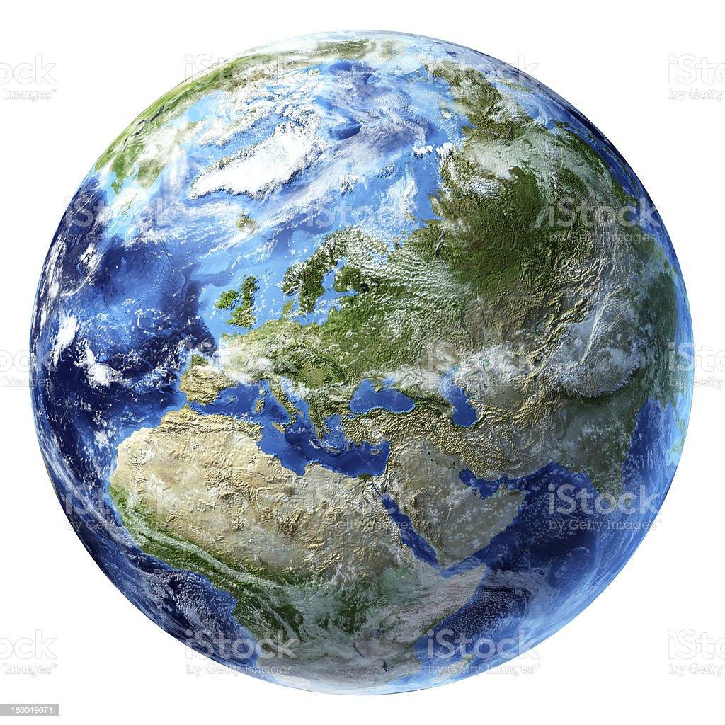 Planet Earth with some clouds. Europe view. stock photo