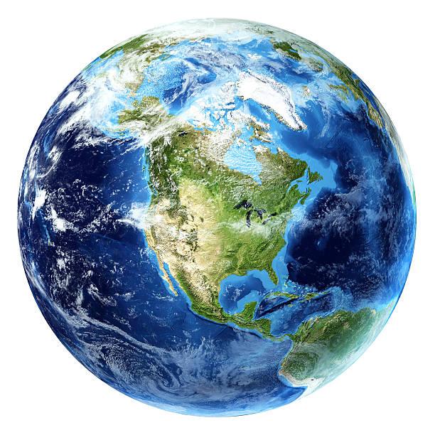 pianeta terra con alcune nuvole. nord america visualizza. - pianeta terra foto e immagini stock