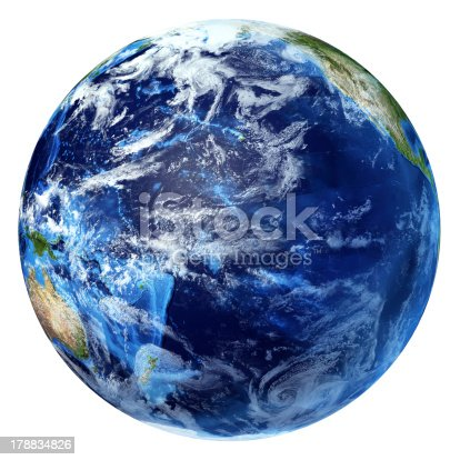 186019678istockphoto Planet Earth with some clouds. Pacific ocean view. 178834826