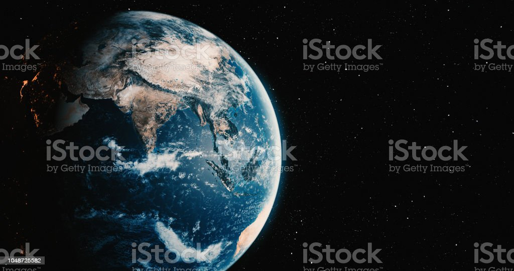 Planet Earth with star backgrounds royalty-free stock photo
