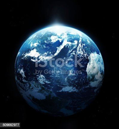 istock Planet earth with sun rising from space 509662977