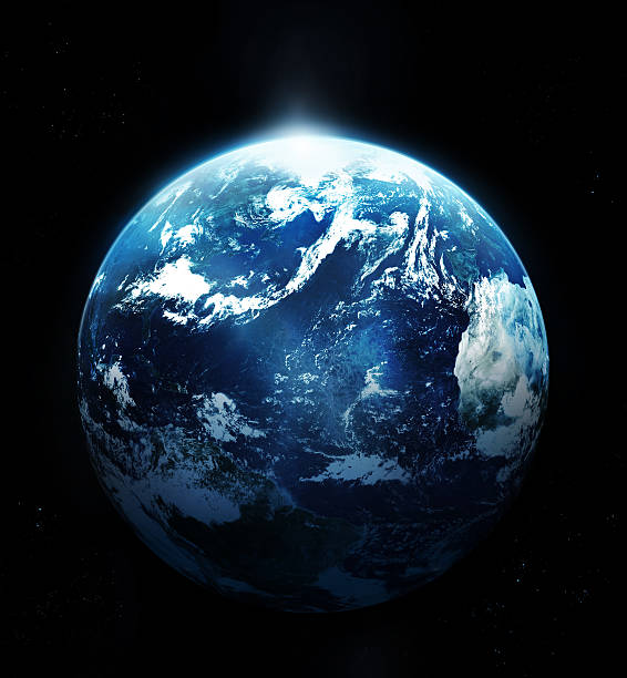 Planet earth with sun rising from space Planet earth with sun rising from space- planet earth stock pictures, royalty-free photos & images