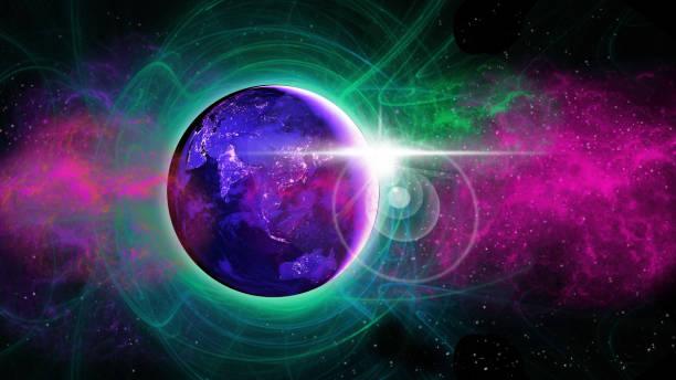planeten jorden med virvlande aura och lens flare - science fiction bakgrundsbild - earth from space bildbanksfoton och bilder