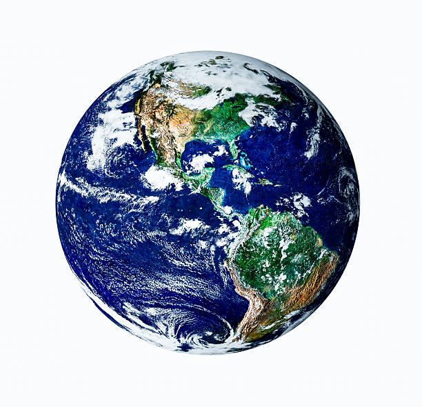 Planet Erde auf weiß isoliert auf USA-Blick – Foto