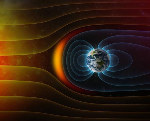 行星地球磁場對抗太陽風 - 磁石 個照片及圖片檔