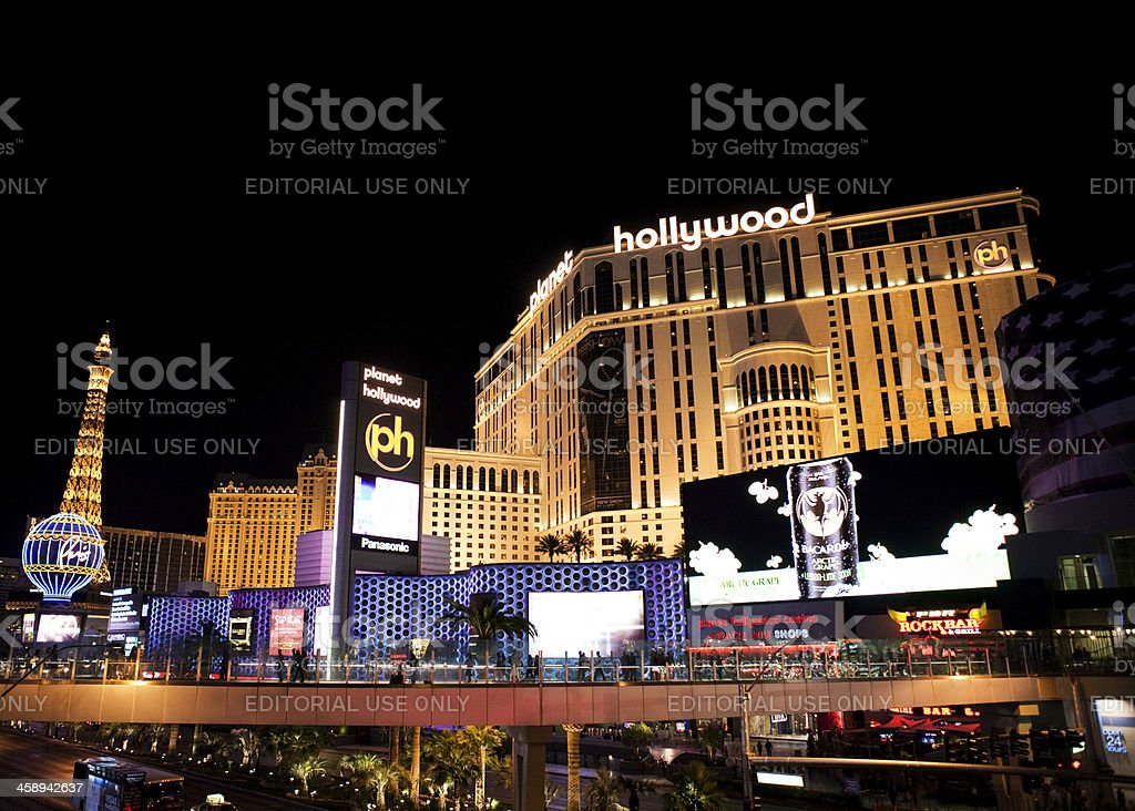 Planet Hollywood Hotel and Casino Nighttime stock photo