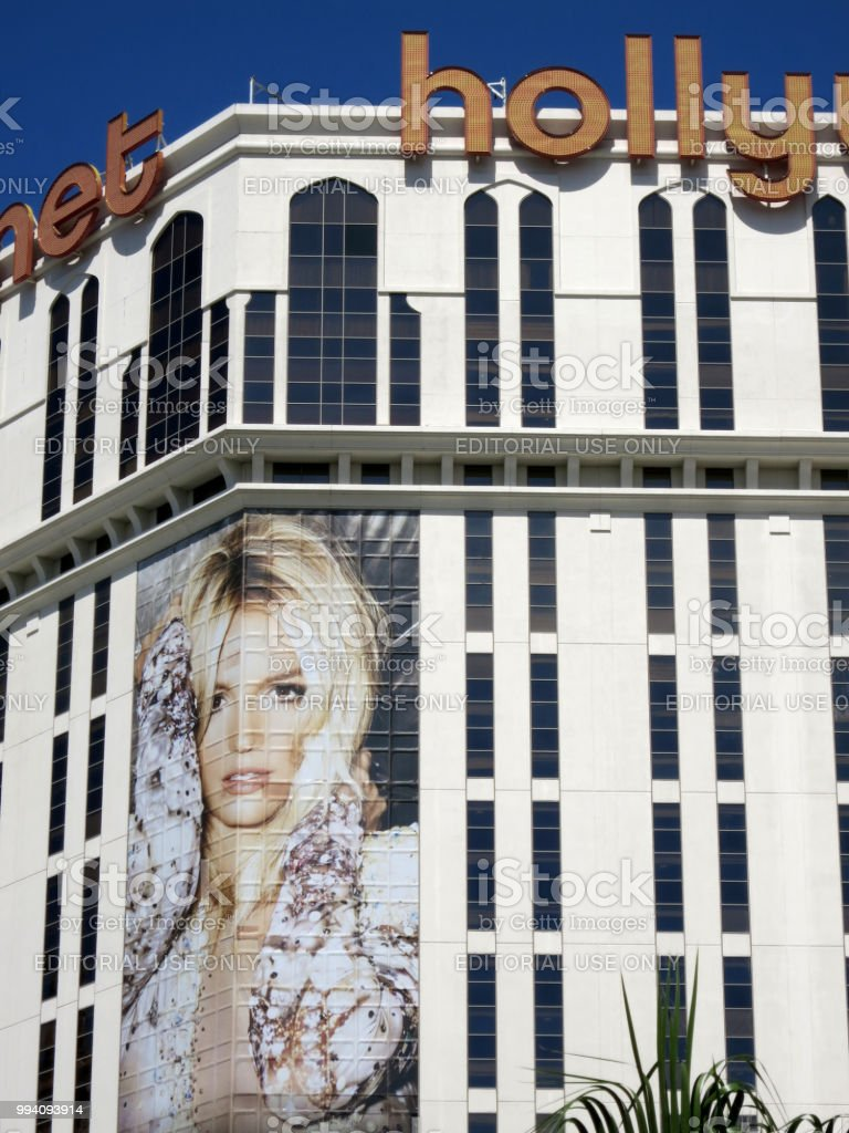 Planet Hollywood Hotel with Britney Spears ad on building stock photo