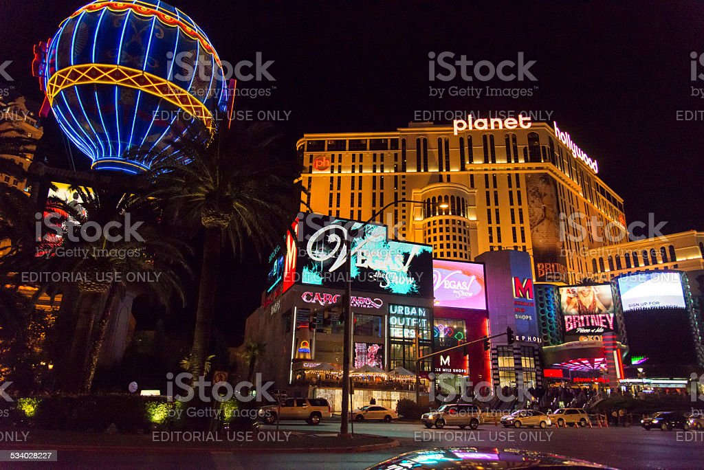 Planet Hollywood Las Vegas Strip At Night Stock Photo