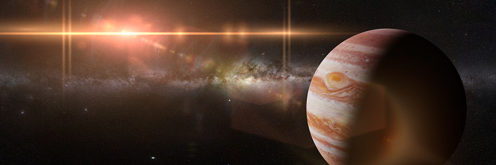 artist's interpretation of the gas giant, space panorama banner