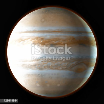 istock Planet Jupiter in the outer space. Watercolor, 3D illustration 1126614934