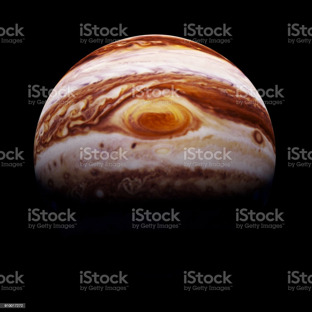 (3d render) planet Jupiter isolated on black background with focus on the red spot stock photo