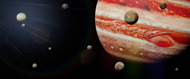 planet Jupiter with some of the 69 known moons in outer space artist's interpretation of the stormy gas giant with the red dot known gas stock pictures, royalty-free photos & images