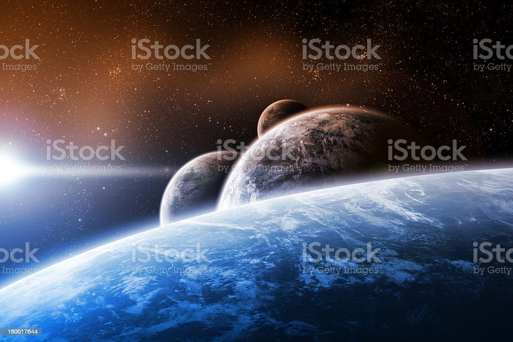 Planet landscape artwork stock photo