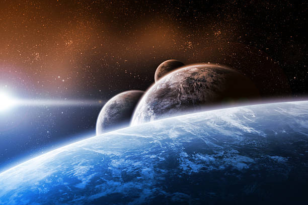 Planet landscape artwork stock photo