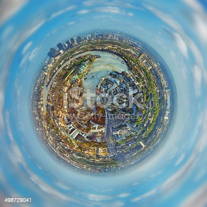 Aerial view of London in small planet form