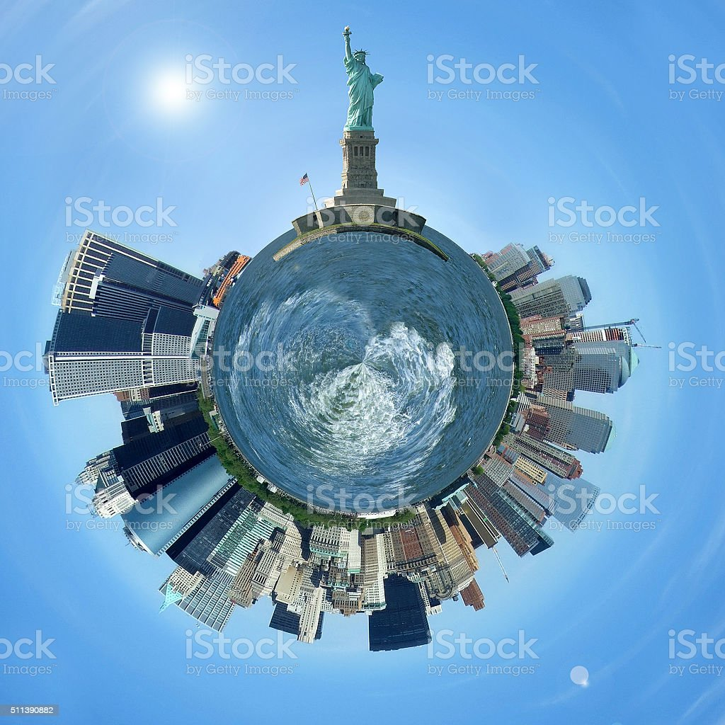 Planet Manhattan, New York City skyline on a tiny planet stock photo