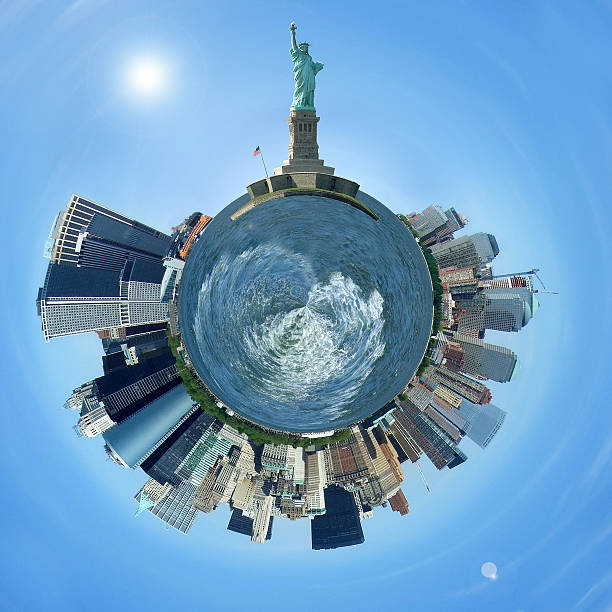 Planet Manhattan, New York City skyline on a tiny planet Planet Manhattan, New York City skyline on a tiny planet liberty island stock pictures, royalty-free photos & images