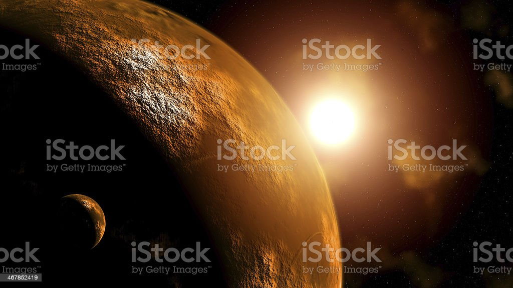 Planet Mars at sunrise stock photo