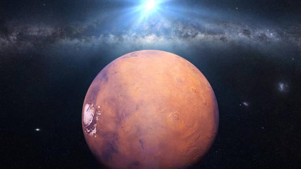 planet mars of the beautiful milky way galaxy and the sun - going inside eye imagens e fotografias de stock
