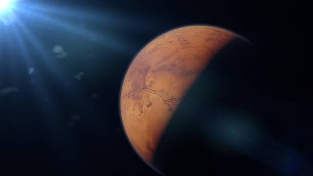 planet mars, the red planet and the sun - going inside eye imagens e fotografias de stock