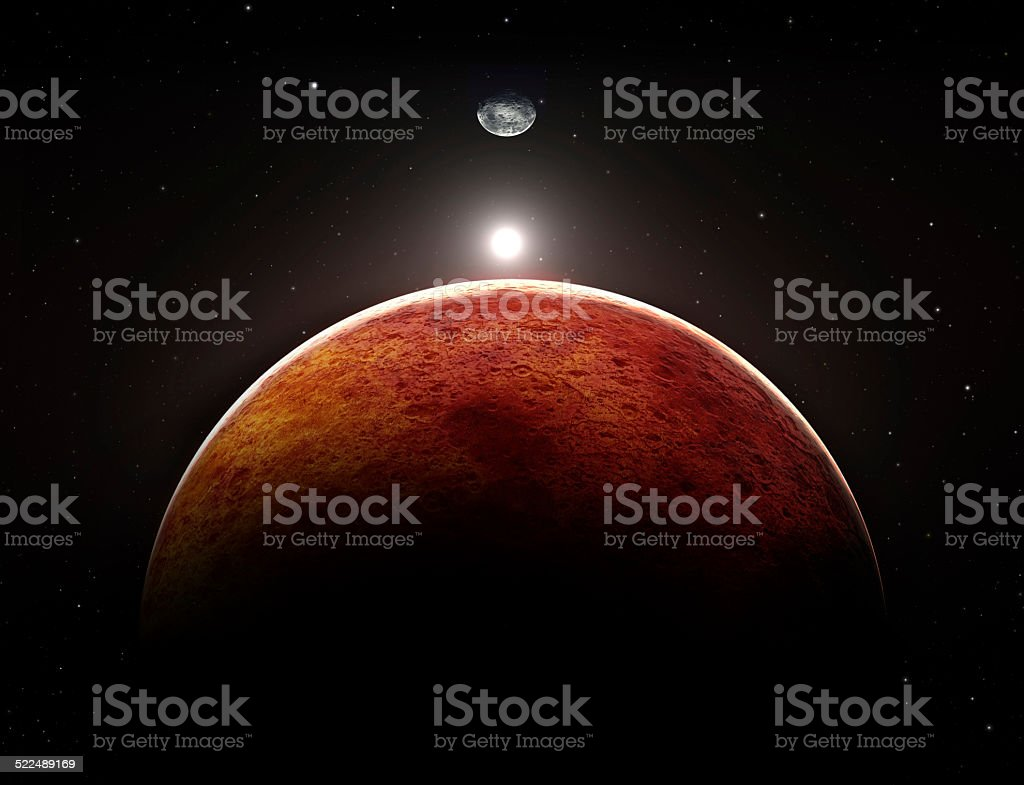 Planet Mars with moon, illustration stock photo