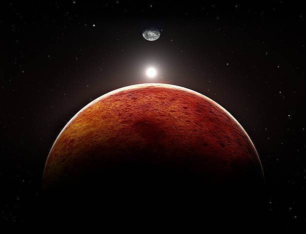 planet mars with moon, illustration - mars bildbanksfoton och bilder