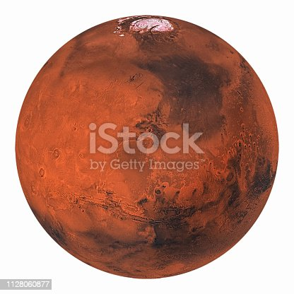 istock Planet Mars with polar ice isolated on white background. Elements of this image furnished by NASA. 1128060877