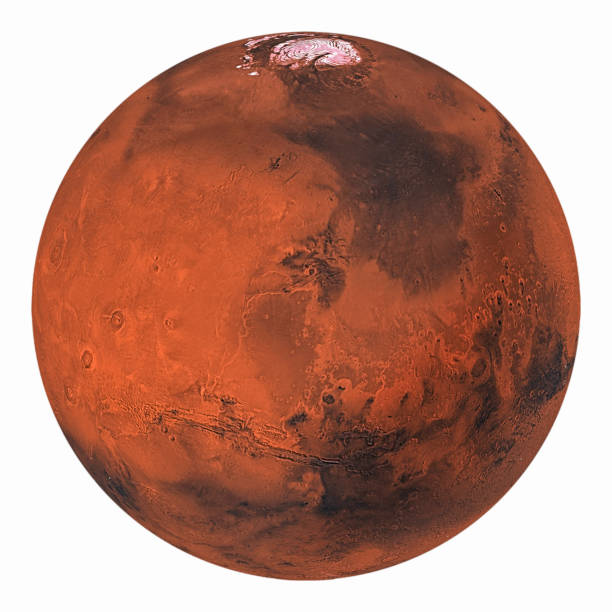 Planet Mars with polar ice isolated on white background. Elements of this image furnished by NASA. stock photo