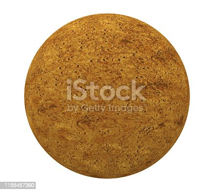 Planet Mercury isolated on white background. 3D render