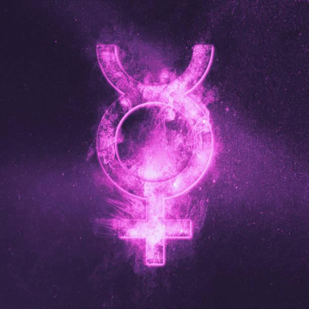Planet Mercury Symbol. Mercury sign. Abstract night sky background. stock photo