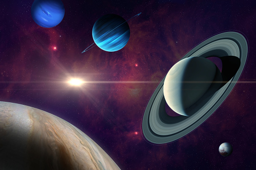 Conjunction of Jupiter and Saturn in Aquarius. Planet of solar system: Jupiter, Saturn Neptune, Uranus and Pluto. Gas giants planets. Elements of this image furnished by NASA. ______ Url(s): \nhttps://images.nasa.gov/details-PIA01492\nhttps://images.nasa.gov/details-PIA22688\nhttps://images.nasa.gov/details-PIA21061\nhttps://solarsystem.nasa.gov/resources/17549/saturn-mosaic-ian-regan\nSoftware: Adobe Photoshop CC 2015. Knoll light factory. Adobe After Effects CC 2017.
