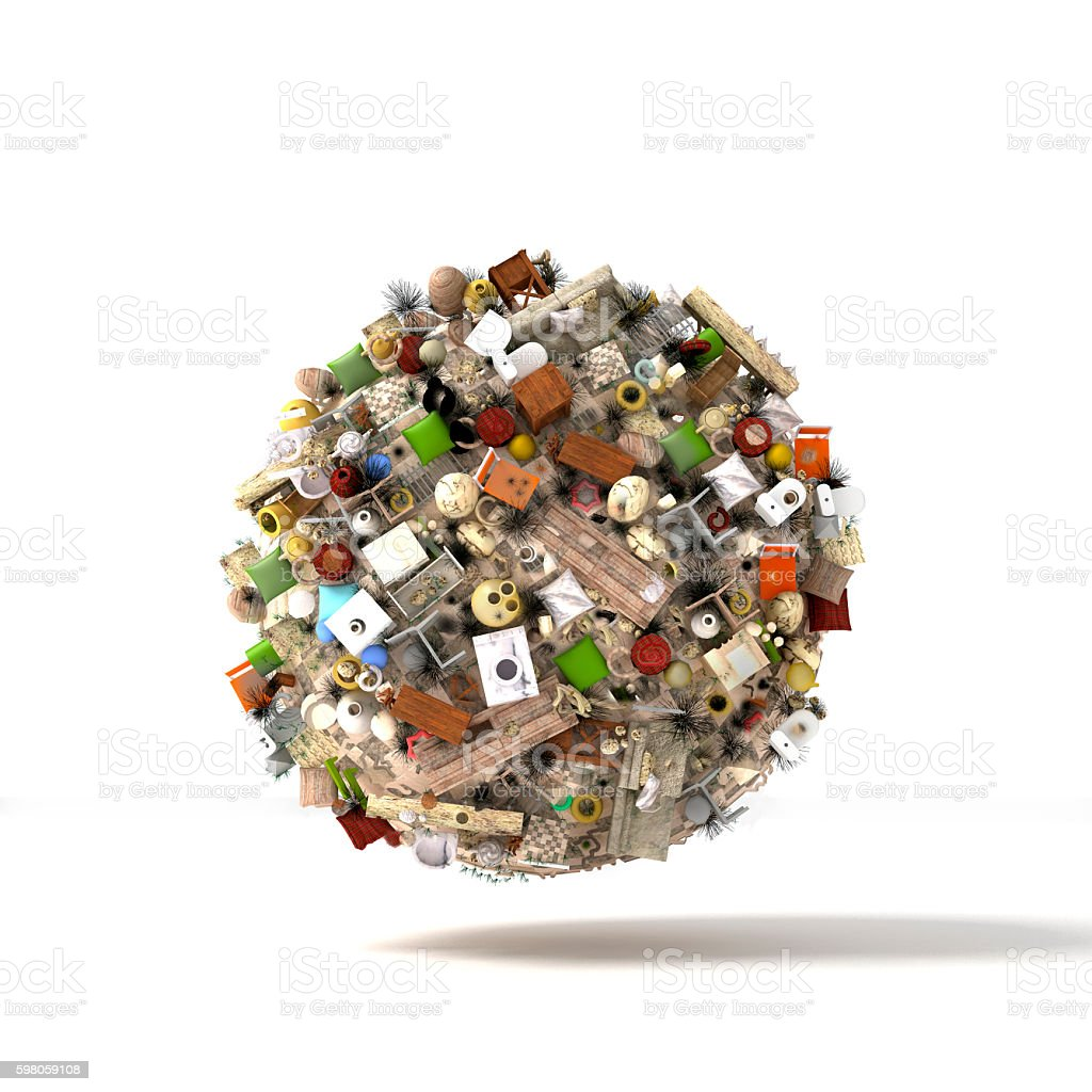 Planet of the objects and debris stock photo