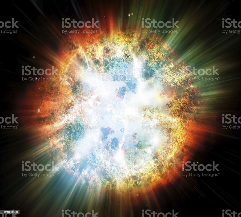 Planet or Star explosion stock photo