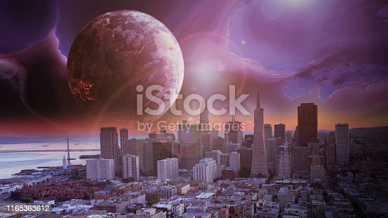 Aerial footage from the San Francisco skyline. Digitally generated illustration in Adobe After Effects  NASA Black Marble Images is used as part of this composition. https://eoimages.gsfc.nasa.gov/images/imagerecords/90000/90008/earth_vir_2016_lrg.jpg
