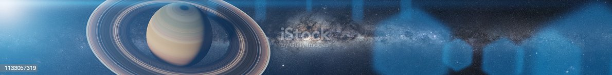 istock planet Saturn and the Sun (3d render banner - leaderboard format, elements of this image are furnished by NASA) 1133057319